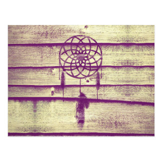 Traumfänger-lila Holz Postkarten