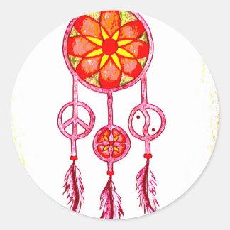 Traumfänger orange runder aufkleber