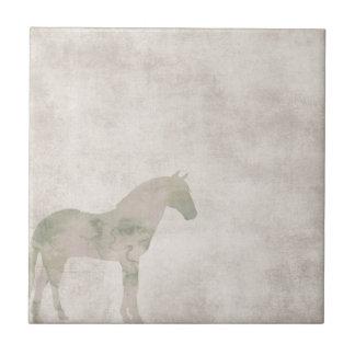Traumpferd: Aquarellpferd auf Staubbraun Kleine Quadratische Fliese