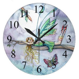 Traumstellen-bunte Fee und Schmetterlings-Uhr Große Wanduhr