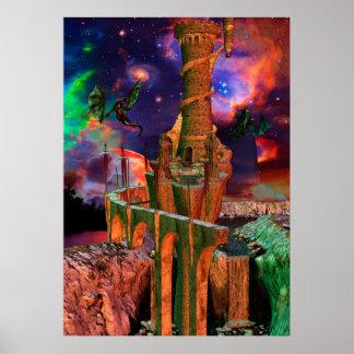 Traumwelt-Drache-Kampf-Fantasie-Kunst Poster
