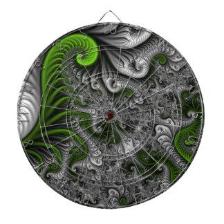 Traumwelt-grüne und graue abstrakte Fraktal-Kunst Dartscheibe