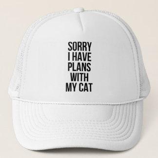 Traurig habe ich Pläne mit meiner Katze Truckerkappe