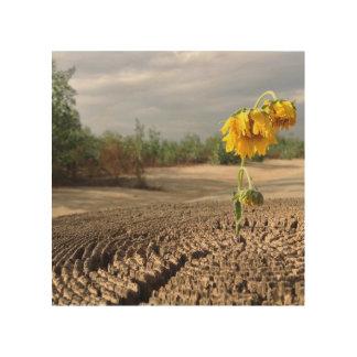 Traurige Blumen Holzwanddeko