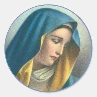 Traurige gesegnete Jungfrau Mary Runder Aufkleber