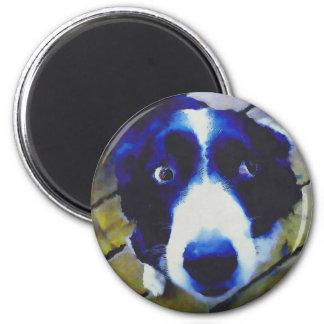 Traurige Hündchen-Augen gemalte Art Runder Magnet 5,1 Cm