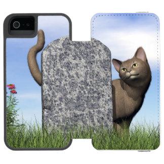 Traurige Katze nahe Grabstein Incipio Watson™ iPhone 5 Geldbörsen Hülle