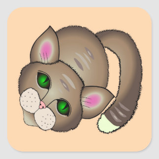 Traurige Katze Quadratischer Aufkleber