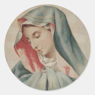Traurige Mutter Mary Mater Dolorosa Runder Aufkleber