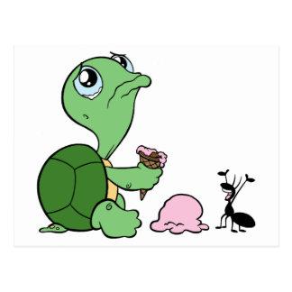 Traurige Schildkröte-glückliche Ameise Postkarte