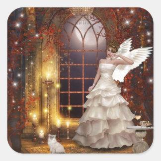 Trauriger Engel mit Miezekatze Quadratischer Aufkleber