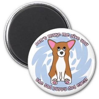 Trauriger Hund mustert Runder Magnet 5,7 Cm