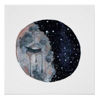 Trauriger Mond-Druck Poster