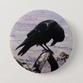 Trauriger Raben-Knopf 01 Runder Button 7,6 Cm