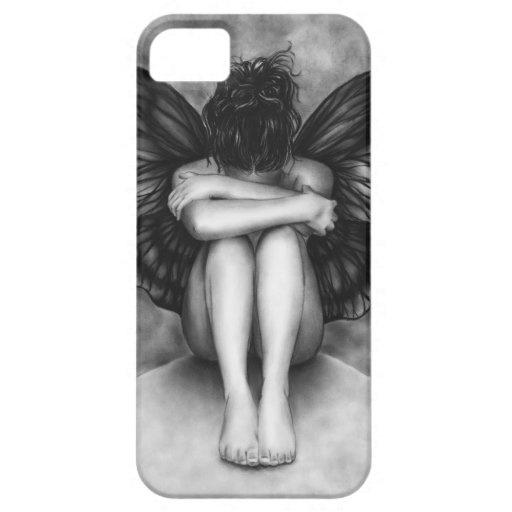 Trauriger Schmetterlings-Mädchen iPhone Fall iPhone 5 Etui