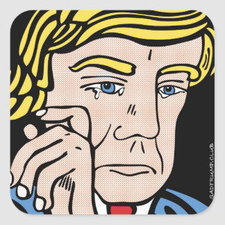 Trauriger Trumpf-Aufkleber Quadratischer Aufkleber