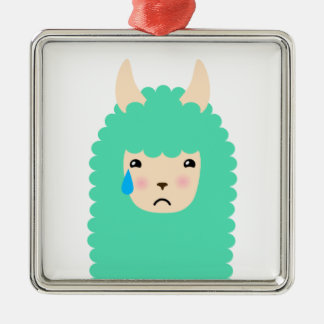 Trauriges Emoji Lama Silbernes Ornament