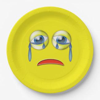 Trauriges Emoji Pappteller