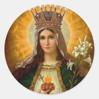 Trauriges u. tadelloses Herz der Jungfrau Mary Runder Aufkleber