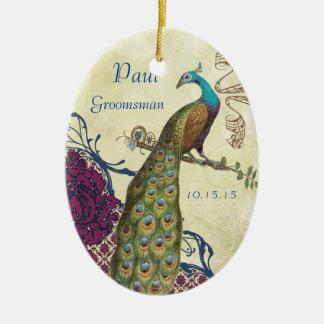 Trauzeuge-Marine u. HimbeerVintager Pfau Ovales Keramik Ornament