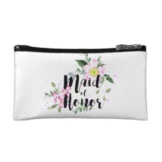 Trauzeuginrosa Blumenwatercolor-Hochzeit Makeup-Tasche