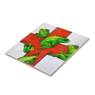 *tree*frog*green*tattoo*art*red*cross*graphics* keramikfliese