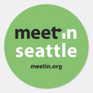 Treffen-in Seattle-Aufkleber Runder Aufkleber
