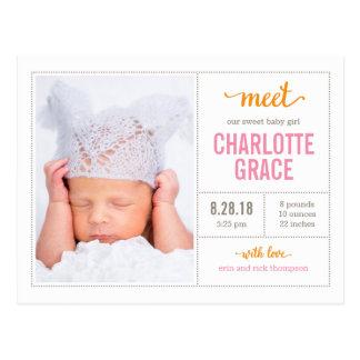 TREFFEN Sie IHRE moderne Geburts-Mitteilung Postkarte
