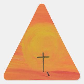 Treffen Sie mich am Kreuz Dreieckiger Aufkleber