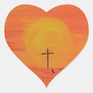 Treffen Sie mich am Kreuz Herz-Aufkleber