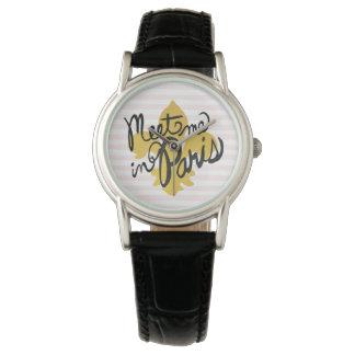 Treffen Sie mich in Parisschwarzem und -gold Armbanduhr