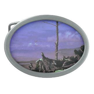 Treibholz auf Strand Ovale Gürtelschnalle