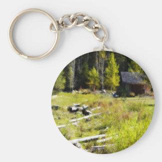 Treibholz und Kabine im Herbst Schlüsselanhänger