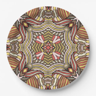 Trendy abstraktes Stammes- Muster Pappteller