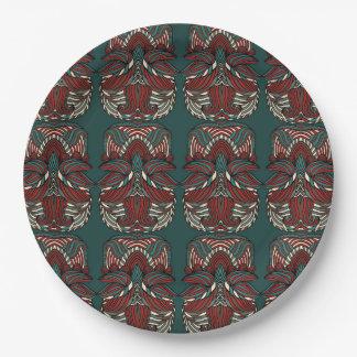 Trendy abstraktes Stammes- Muster.  Rot und Grün Pappteller