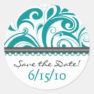 Trendy aquamariner Swirlies Save the Date Aufklebe Runder Sticker