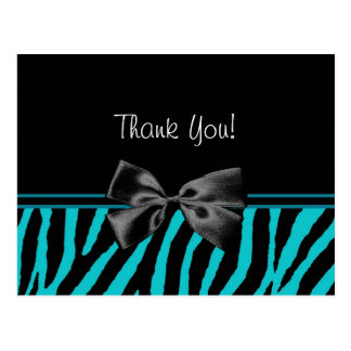 Trendy aquamarines danken Ihnen Zebra-Druck mit Postkarte