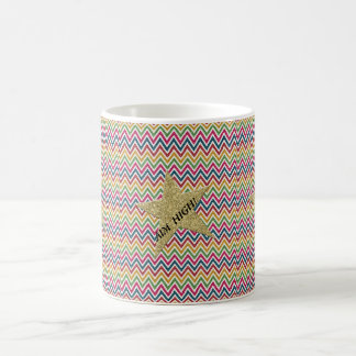 Trendy bunter Glitter-Zickzack Zickzack-AIM hoch! Kaffeetasse