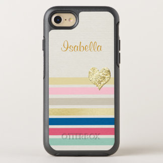 Trendy bunter Streifen-Girly funkelnd Goldherz OtterBox Symmetry iPhone 8/7 Hülle