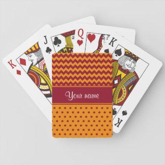 Trendy Burgunder-Sparren-Mandarine-Polka-Punkte Spielkarten