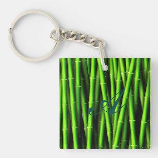 Trendy Chi des Bambusmuster-Hipster-Spaßes des Beidseitiger Quadratischer Acryl Schlüsselanhänger