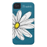 Trendy Daisy Floral Illustration - blue and yellow Case-Mate iPhone 4 Case