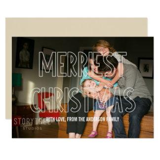 Trendy frohste Weihnacht-Überlagerungs-Foto-flache 12,7 X 17,8 Cm Einladungskarte