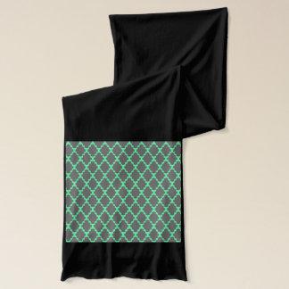 Trendy geometrische Checkered schwarze aquamarine Schal