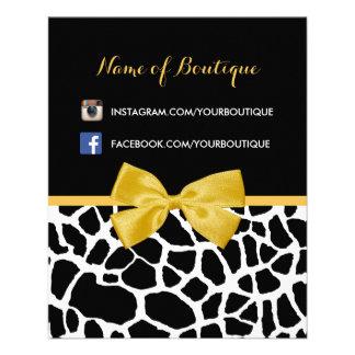 Trendy Giraffen-Druck-Gelb-Bogen-Mode-Butike 11,4 X 14,2 Cm Flyer