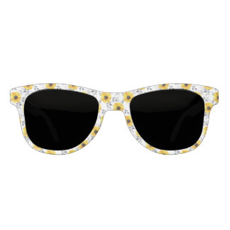 Trendy Girly gelbes Blumen-Muster Brille