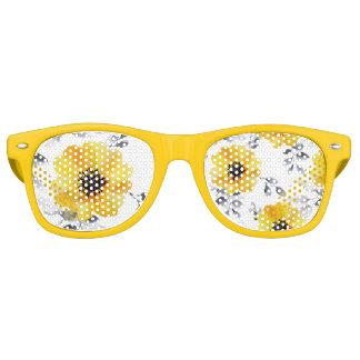 Trendy Girly gelbes Blumen-Muster Partybrille