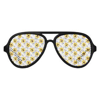 Trendy Girly gelbes Blumen-Muster Sonnenbrille