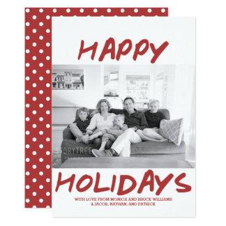 Trendy glückliche Feiertags-Foto-Karte | Burgunder Karte