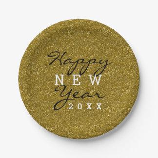 Trendy glückliches neues Jahr-GoldGlitzer Pappteller